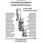 """Imagen DR. MAURIZIO CANDIOTTO REALIZA CONFERENCIA """"LA FENOMENOLOGÍA ENTRE LAS PARADOJAS DE LA SICOLOGÍA Y METAFÍSICA DE LA PRESENCIA"""""""